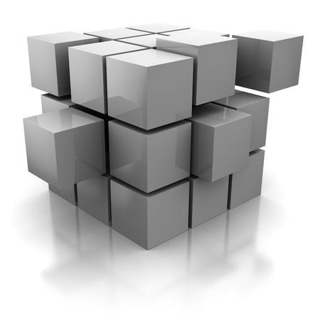 cube puzzle: abstract 3d illustration of cube cionstruction with blocks Stock Photo