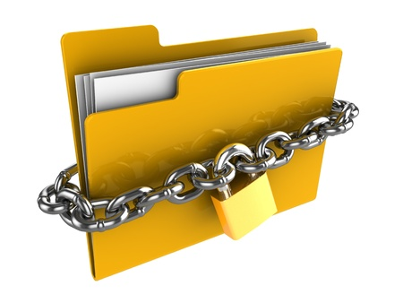 locked: 3d illustration of locked folder isolated over white background