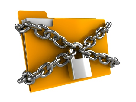 trademark: 3d illustration of documetns folder locked by chains Stock Photo