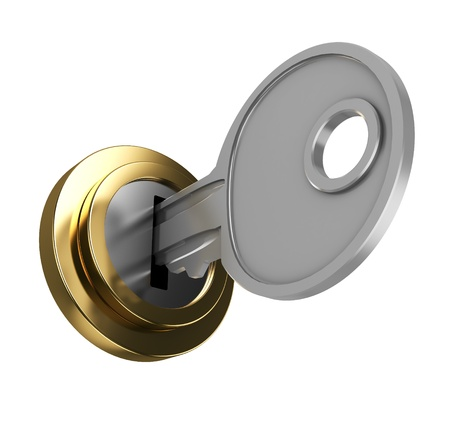keyhole: 3d illustration of key in key-hole, isolated over white background
