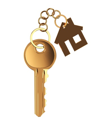 keyholder: 3d illustration of yellow metal home key over white background