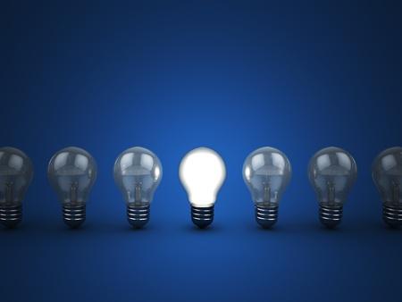 ampoule: 3d illustration de la ligne ampoules de lumi�re avec un brillant Banque d'images