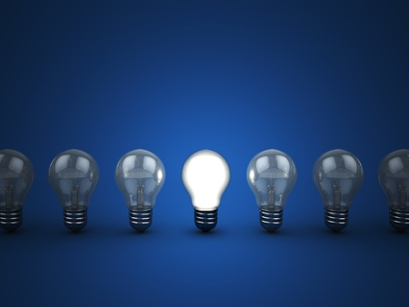 3d illustration of light bulbs row with one shining illustration