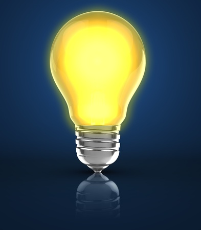 lit lamp: 3d illustration of light bulb over blue background
