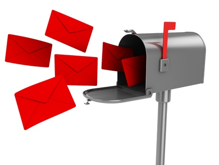 buzon de correos: Ilustraci�n 3D de buzones de correo con muchas cartas, aisladas sobre fondo blanco Foto de archivo