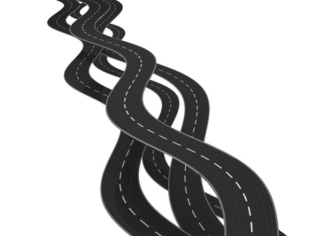 curving: 3d ilustration of curved roads over white background Stock Photo