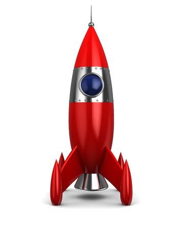 launching: 3d illustration of cartoon rocket over white background