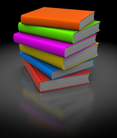 multiple image: 3d illustration of colorful books stack over dark background Stock Photo