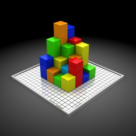 abstract 3d illustration of business diagram, over dark background Stock Illustration - 10276940