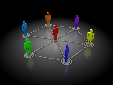 closed community: abstract 3d illustration of people network over dark background