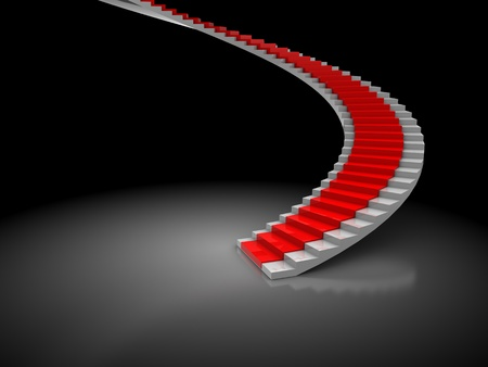 spiral stairs: 3d illustration of stairway with red carpet over dark background Stock Photo