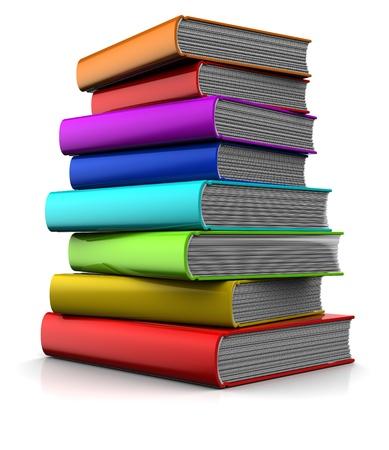 3D Darstellung von bunten Bücher