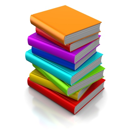 stack of papers: 3d illustration of colorful books Stock Photo