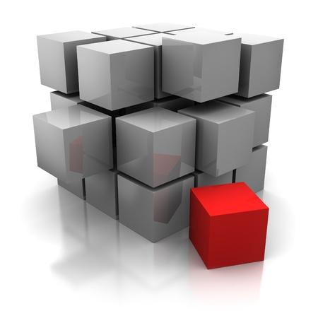 objetos cuadrados: Ilustraci�n 3d abstracto de construcci�n de cubos Foto de archivo