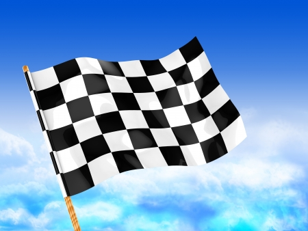 3d illustration of start flag over blue sky background illustration