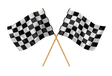 3d illustration of two crossed start flags, isolated over white illustration