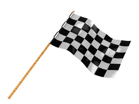 racing flag: 3d illustration of start flag isolated over white background Stock Photo