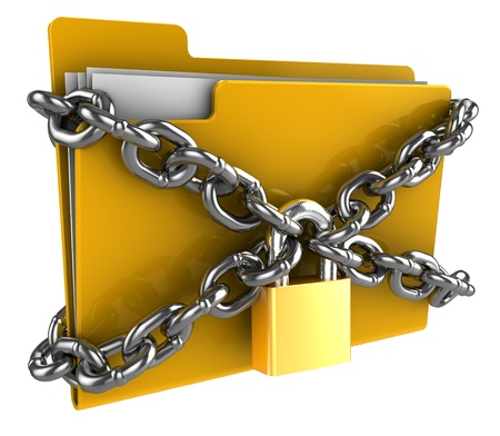 file: 3d illustration of folde locked by chains isolated over white