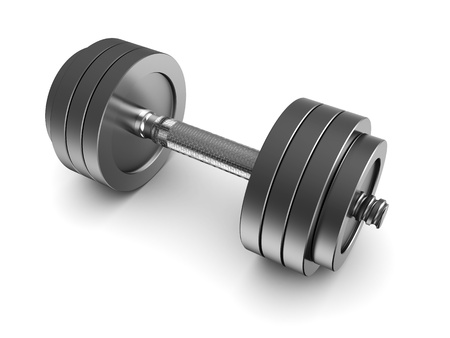 3d illustration of dumbbell over white background