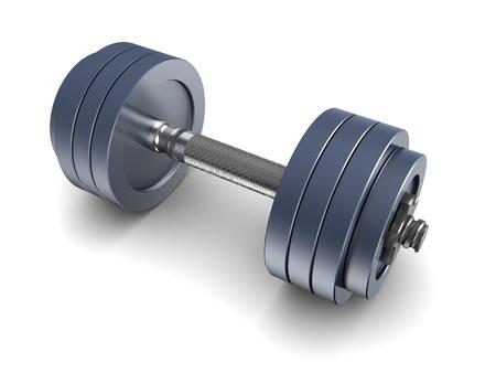 kilos: 3d illustration of blue metall dumbbell over white background Stock Photo