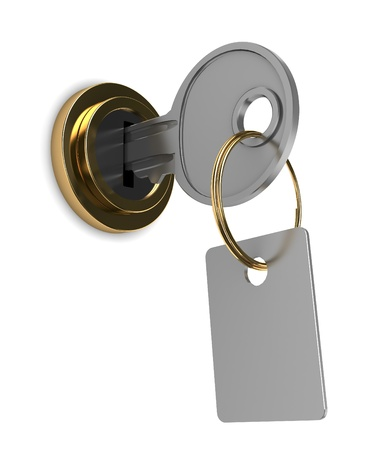key hole: 3d illustration of key with tag, over white background
