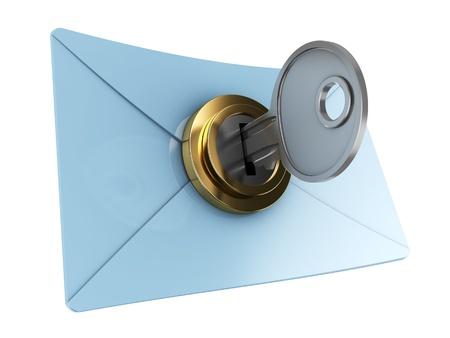 3d illustration of mail envelope with key, encryption concept illustration