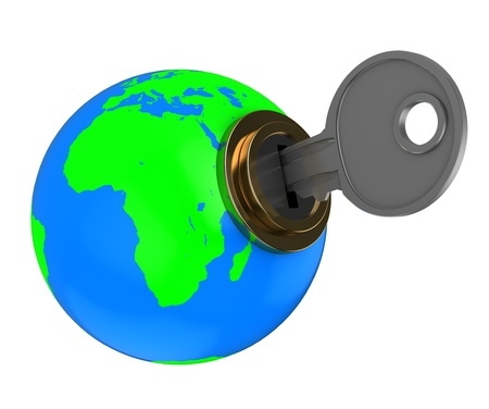 3d illustration of earth globe with key, isolated over white Stock Illustration - 10276913