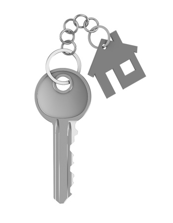 key in door: 3d illustration of home key isolated over white background Stock Photo