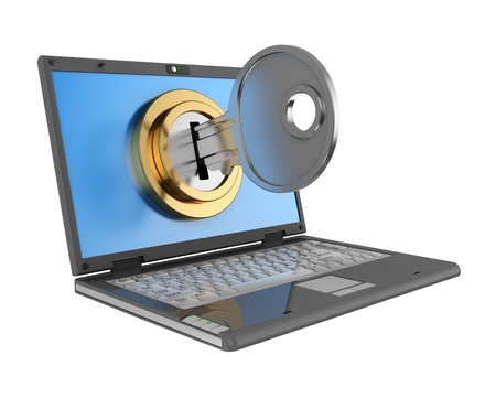 computer security: 3d illustration of laptop computer locked by key, isolated over white