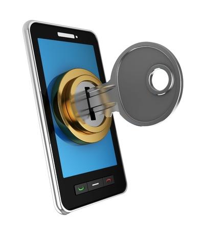 lösenord: 3d illustration av mobiltelefon låst med nyckel