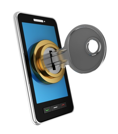3d illustration of mobile phone locked with key Stock Illustration - 10276920