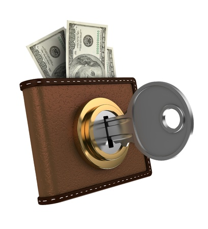 unlock: 3d illustration of locked wallet with money, isolated over white