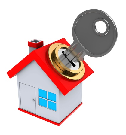 owning: 3d illustration of small house with key Stock Photo