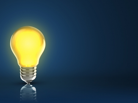 3d illustration of light bulb over dark blue background