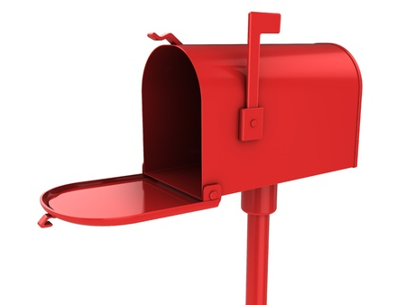 buzon de correos: Ilustración 3D de rojo maibox aislado en blanco