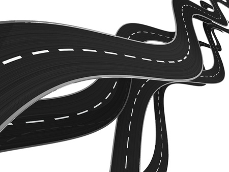 curved road: abstract 3d illustration of asphalt roads background Stock Photo