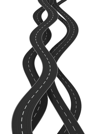 3d illustration of curved roads isolated over white background illustration