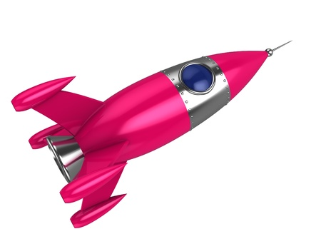booster: abstract 3d illustration of toy pink rocket, isolated over white background Stock Photo