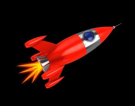 3D-afbeelding van de ruimte raket op een zwarte achtergrond