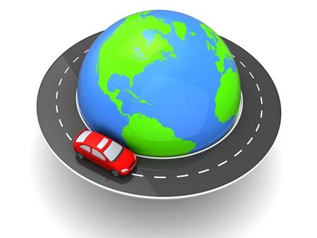 3d illustration of car travel around world concept illustration