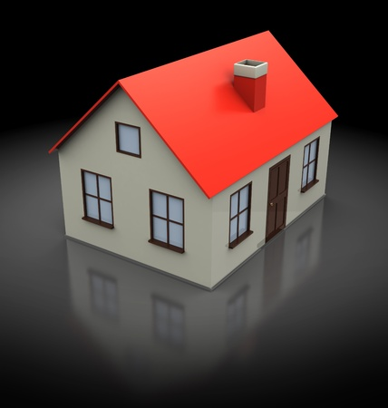 housing project: 3d illustration of generic house, over black background Stock Photo