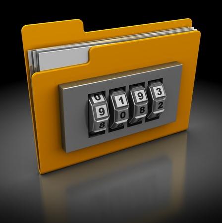 contraseña: Ilustración 3D del icono de carpeta con cerradura de combinación