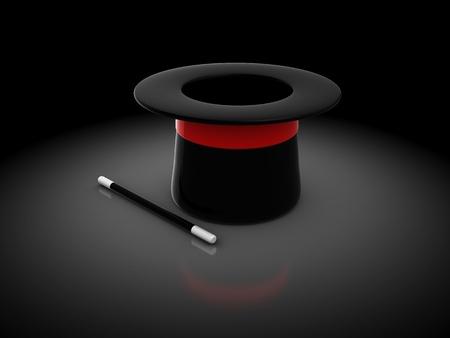 mago: Ilustración 3D de sombrero mágico sobre fondo oscuro Foto de archivo