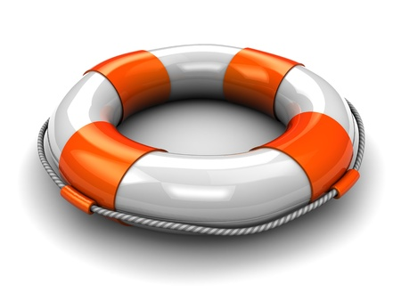 beach buoy: 3d illustration of rescue circle, over white background Stock Photo
