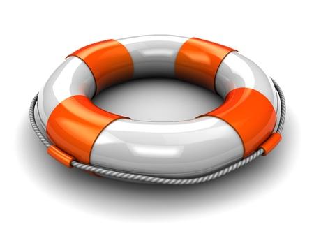 aro salvavidas: Ilustraci�n 3D del c�rculo de rescate, sobre fondo blanco