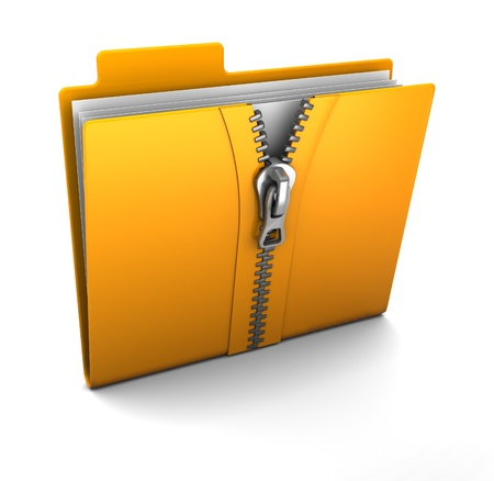 zip: 3d illustration of folder icon with zip, over white background Stock Photo