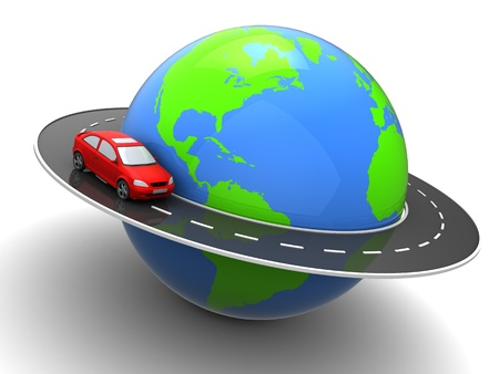 across: 3d illustration of car on road around earth globe Stock Photo