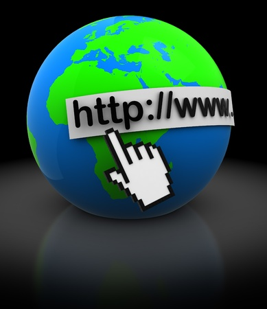 abstract 3d illustration of earth globe with mouse cursor, internet concept illustration