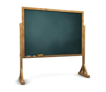 黑板上的立場在白色背景三維圖