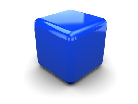 3d illustration of single plastic cube, over white background